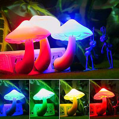 Sensor Night Plug Light Sensor Mushroom LED Lamp Romantic Colorful Home Decor