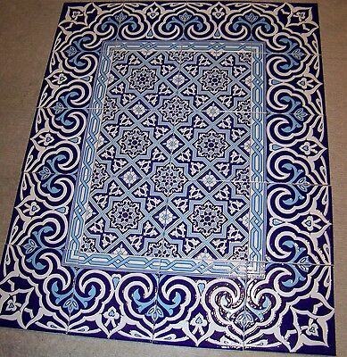 "Blue & White Border 40""x32"" Turkish Iznik Raised Ceramic Tile Mural Panel"