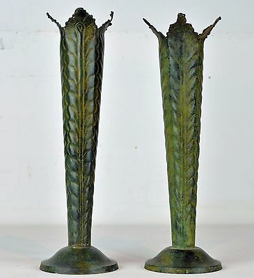 Pair of Artistic Vintage Art Deco Style Conical Bronze Vases w. Wheat Ear Design