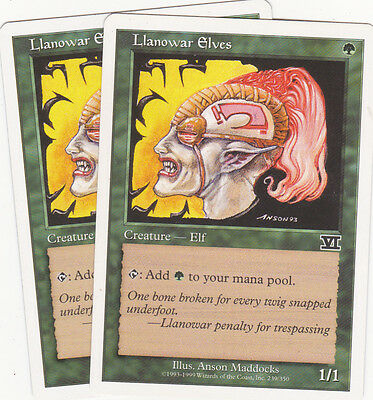2 x  Llanowar Elves common creature from Sixth Edition (magic the gathering)