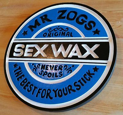 Mr Zogs Surf Wax 3D routed carved wood sign tiki bar beach blue