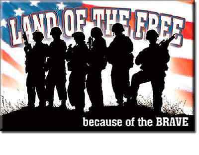 Land Of The Free Because Of The Brave Motivational Quotes Fridge