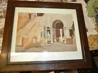 beautiful 1900's watercolour middle eastern with antique picture frame solid oak