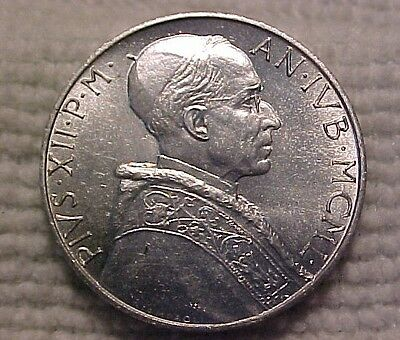 1950 Vatican City 2 Lire - UNC, Holy Year, Dove & St. Peter's Basilica