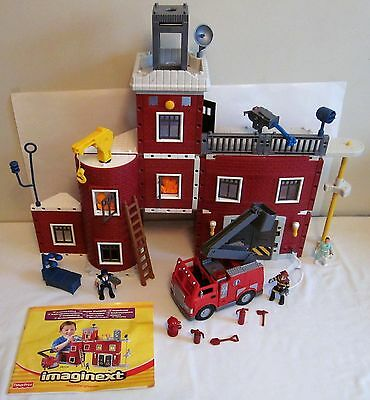 2002 Fisher Price Imaginext FIRE STATION RESCUE CENTER Set 100 % Inst Truck Fig