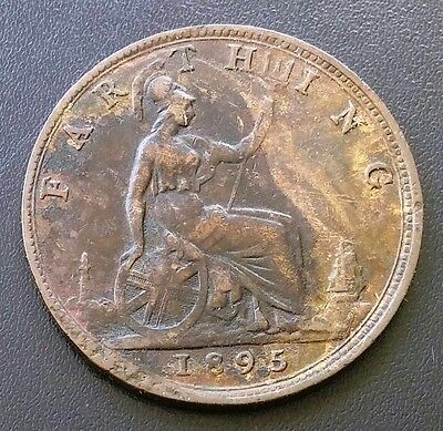 1895 Great Britain Uk Farthing Coin - Great Condition - Key Date - B7D104