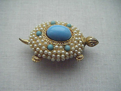 Vintage faux seed pearl turquoise stones tortoise brooch C1960s large cabochon