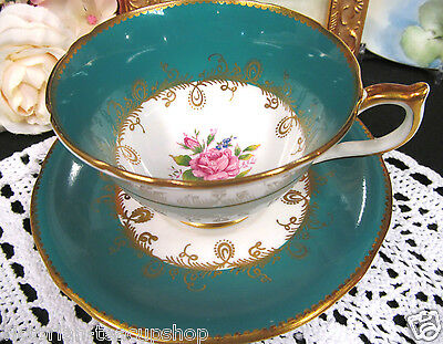 Aynsley Tea Cup And Saucer Green & Roses Pattern Teacup Wide Mouth