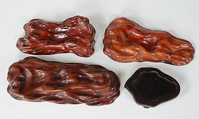 4 Vintage or Antique Chinese Carved Wood Stands for Carvings Dr Dolls etc