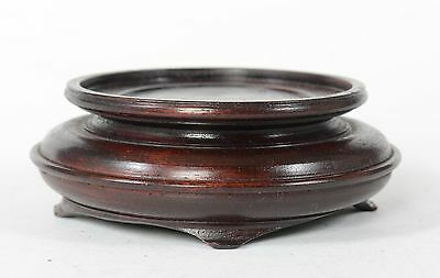 "3 3/4"" Vintage or Antique Chinese Carved Wood Vase or Bowl Stand 4 Legs"