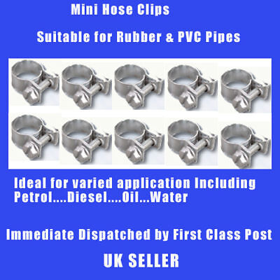 12-14mm 10Pcs MINI HOSE CLIPS CLAMPS FOR FUEL DIESEL PETROL WATER OIL HOSE PIPE