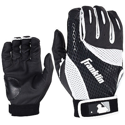 Franklin 2nd Skinz Adult Baseball/Softball Batting Gloves - Black/White - XL