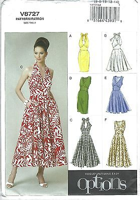 Vogue 8727 Sewing Pattern Easy Options Halter Sun Dress Sz A5 6-14 New Uncut
