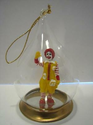 Vtg McDonalds Glass Tear Drop Christmas Ornament/Ronald McDonald/1980's