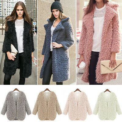 Women Fluffy Shaggy Faux Fur Cardigan Slim Jacket Parka Coat Winter Warm Outwear