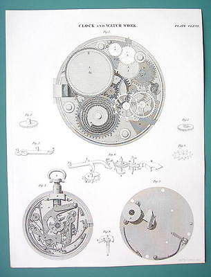 REPEATING WATCH & Clock Work - c. 1835 Fine Quality Antique Print
