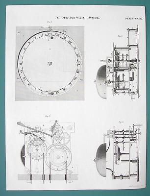 WATCH Work & Taylor's Alarm Clock - c. 1835 Fine Quality Antique Print