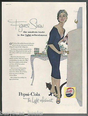1955 PEPSI advertisement, black cat in kitchen, Pepsi-Cola large size ad