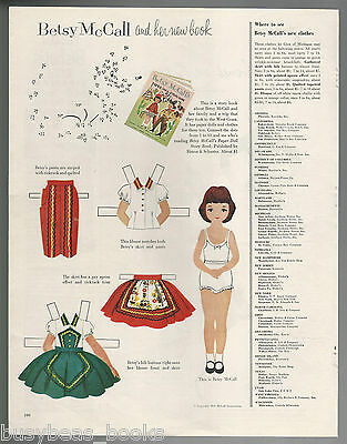 1954 BETSY McCALL paper doll page, from McCall's magazine, large page