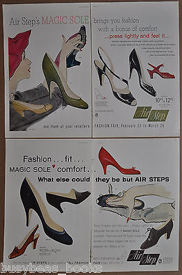 1955 AIR STEP High Heels advertisement x2, large size adverts, lady's shoes