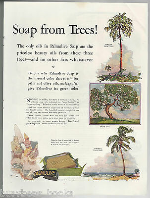 1925 PALMOLIVE Soap advertisement, Soap From Trees!  large size advert