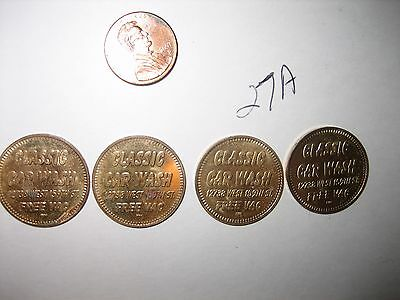 4 VINTAGE BRASS Classic Car Wash Token TOKENS COIN Homer Glen, Illinois