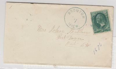 USA 3cts RPO COVER BRONSON MICH TO PORT DOVER CANADA SEE WRITE ON BACK