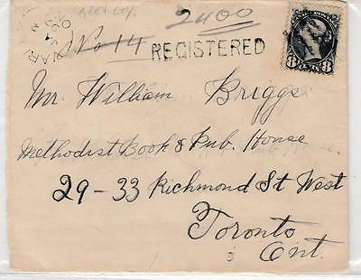 CANADA 8cts SMALL QUEEN ON REGISTERED RPO COVER MUST SEE BACK 1897