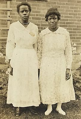 Real Photo Postcard RPPC ~ Two Young African American Women ~ White Lace Dresses
