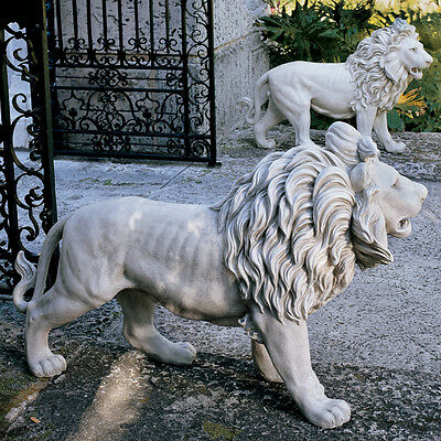 Regal Lions Estate Gate Sculptures Statues (set of 2) for Home or Garden