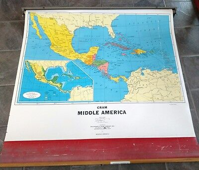 Vintage Pulldown School Map of Middle America