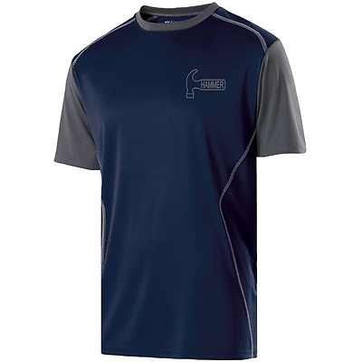 Hammer Men's Viral Performance Crew Neck Bowling Shirt Dri-Fit Carbon Navy