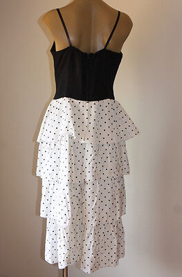 SASSY VINTAGE 80's RUFFLED POKER DOTS ACETATE PARTY DRESS 12