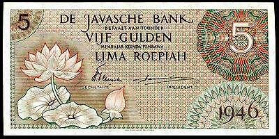 Dutch East Indies. Five Gulden. EDH 058807. 1946, Good Very Fine or better.