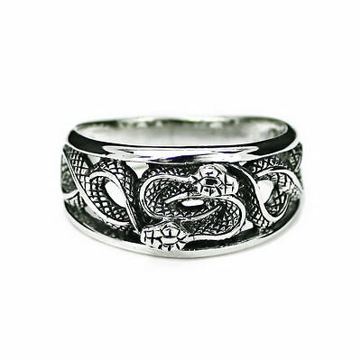 Solid Sterling Silver Ouroboros Purification Infinity Finger Band Men Ring R012