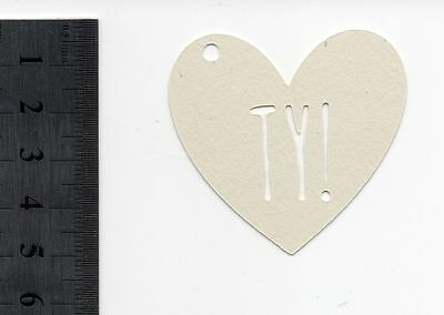 35 x White heart-shaped thankyou gift labels - TY! - c. 5 cm length