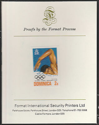 Dominica (1898) - 1976 Swimming 2c imperf on Format International PROOF  CARD