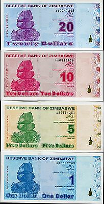 Zimbabwe Set 4 Pcs 1 5 10 20 Dollars 2009 P 92 93 94 95 Unc