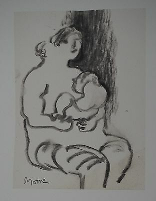 "Henry Moore ""Seated mother and child"" Lithograph Limited 2047/3000 pcs Seat '83"