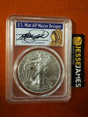 2017 (W) Silver Eagle Pcgs Ms70 Thomas Cleveland First Day Of Issue Fdoi