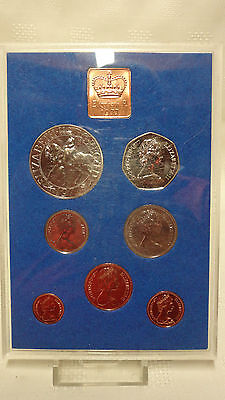 1977 UK 7 Coin Proof Set. 1/2p to Crown - Hard Plastic Case