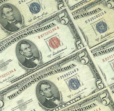 5-$5.00 1953 Blue Seal Silver Certificates + 5-$5.00 1953  Red Seals Dealers Lot