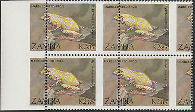 Zambia (1919) - 1989 Reed Frog PERFORATION SHIFT block of 4  unmounted mint