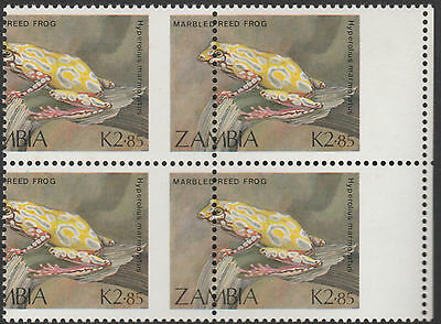Zambia (1920) - 1989 Reed Frog PERFORATION SHIFT block of 4  unmounted mint