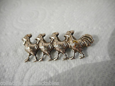 Vintage Sterling Silver Chickens In A Row Brooch