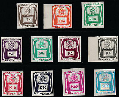 Zambia (1923) - 1969 REVENUE imperf set of 11 values