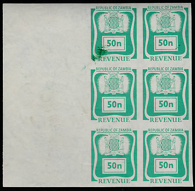 Zambia (1925) - 1969 REVENUE 50n imperf block of 8
