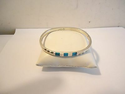 Vintage Sterling Silver Taxco Mexico 3 Gem Turquoise Bangle Bracelet Top Hinged