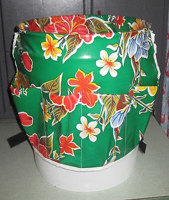Green Hibiscus Oilcloth Garden Bucket Buddy for Tools Seeds Gloves Plant Food