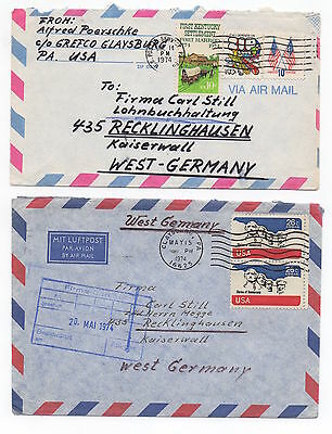 1974 USA - 2 x Air Mail Covers CLAYSBURG PA To RECKLINGHAUSEN GERMANY Poetschke